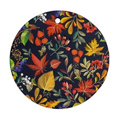 Autumn Flowers Pattern 8 Round Ornament (two Sides) by tarastyle