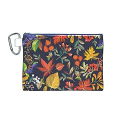 Autumn Flowers Pattern 8 Canvas Cosmetic Bag (m) by tarastyle