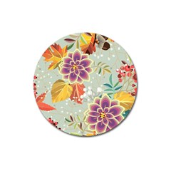 Autumn Flowers Pattern 9 Magnet 3  (round) by tarastyle