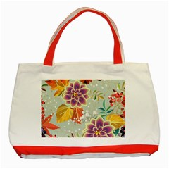 Autumn Flowers Pattern 9 Classic Tote Bag (red) by tarastyle