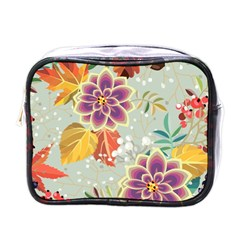 Autumn Flowers Pattern 9 Mini Toiletries Bags by tarastyle