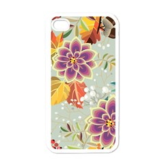 Autumn Flowers Pattern 9 Apple Iphone 4 Case (white) by tarastyle