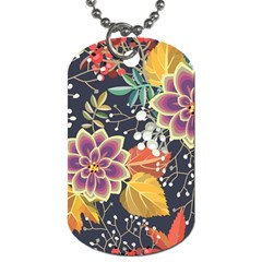 Autumn Flowers Pattern 10 Dog Tag (one Side) by tarastyle
