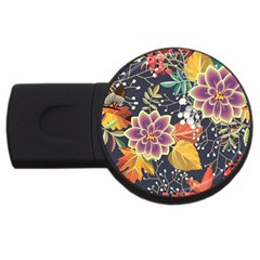 Autumn Flowers Pattern 10 Usb Flash Drive Round (2 Gb) by tarastyle