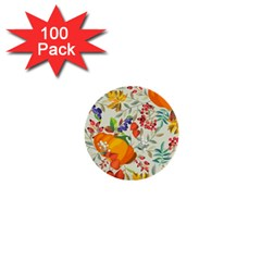 Autumn Flowers Pattern 11 1  Mini Buttons (100 Pack)  by tarastyle