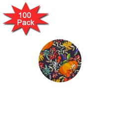 Autumn Flowers Pattern 12 1  Mini Buttons (100 Pack)  by tarastyle
