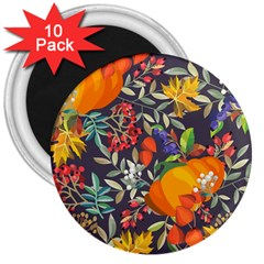 Autumn Flowers Pattern 12 3  Magnets (10 Pack)  by tarastyle