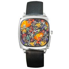 Autumn Flowers Pattern 12 Square Metal Watch by tarastyle