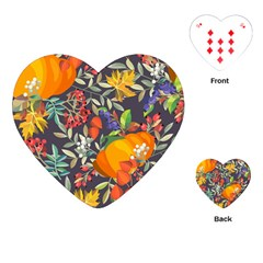 Autumn Flowers Pattern 12 Playing Cards (heart)  by tarastyle