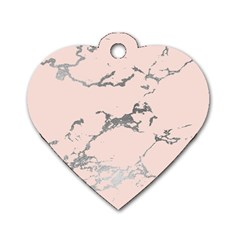 Luxurious Pink Marble 1 Dog Tag Heart (one Side) by tarastyle