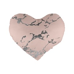 Luxurious Pink Marble 1 Standard 16  Premium Heart Shape Cushions by tarastyle