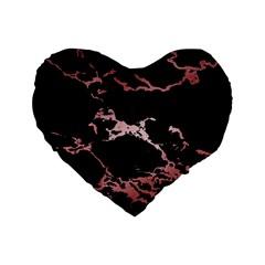 Luxurious Pink Marble 2 Standard 16  Premium Flano Heart Shape Cushions by tarastyle