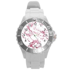 Luxurious Pink Marble 4 Round Plastic Sport Watch (l) by tarastyle