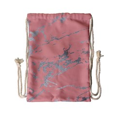 Luxurious Pink Marble 6 Drawstring Bag (small)