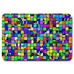Colorful Squares Pattern                             Large Doormat by LalyLauraFLM