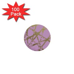 Modern,abstract,hand Painted, Gold Lines, Pink,decorative,contemporary,pattern,elegant,beautiful 1  Mini Buttons (100 Pack)  by 8fugoso