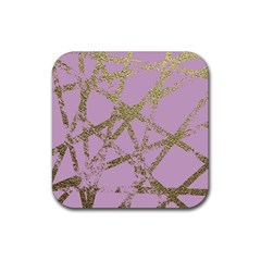 Modern,abstract,hand Painted, Gold Lines, Pink,decorative,contemporary,pattern,elegant,beautiful Rubber Square Coaster (4 Pack)  by 8fugoso