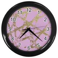 Modern,abstract,hand Painted, Gold Lines, Pink,decorative,contemporary,pattern,elegant,beautiful Wall Clocks (black) by 8fugoso