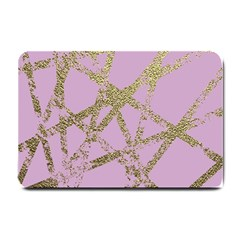 Modern,abstract,hand Painted, Gold Lines, Pink,decorative,contemporary,pattern,elegant,beautiful Small Doormat  by 8fugoso