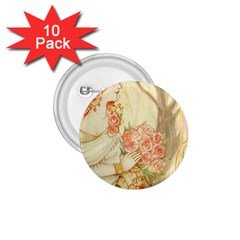 Beautiful Art Nouveau Lady 1 75  Buttons (10 Pack) by 8fugoso