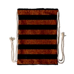 Stripes2 Black Marble & Rusted Metal Drawstring Bag (small) by trendistuff