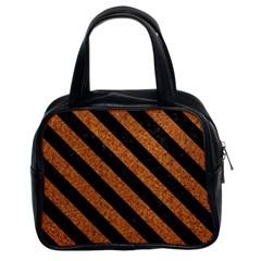 Stripes3 Black Marble & Rusted Metal Classic Handbags (2 Sides) by trendistuff