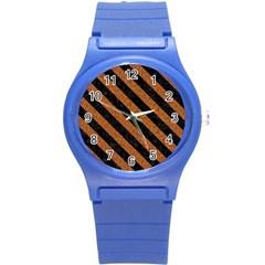 Stripes3 Black Marble & Rusted Metal Round Plastic Sport Watch (s) by trendistuff