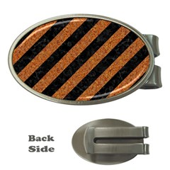 Stripes3 Black Marble & Rusted Metal (r) Money Clips (oval)  by trendistuff