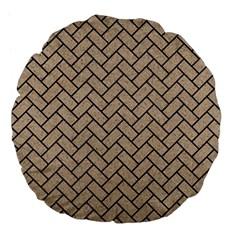 Brick2 Black Marble & Sand Large 18  Premium Flano Round Cushions by trendistuff