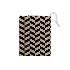 Chevron1 Black Marble & Sand Drawstring Pouches (small)  by trendistuff
