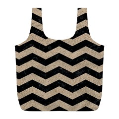 Chevron3 Black Marble & Sand Full Print Recycle Bags (l)  by trendistuff