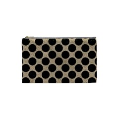 Circles2 Black Marble & Sand Cosmetic Bag (small)  by trendistuff