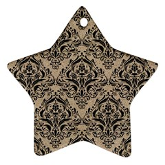 Damask1 Black Marble & Sand Star Ornament (two Sides) by trendistuff