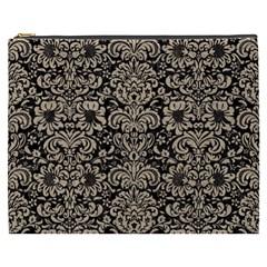 Damask2 Black Marble & Sand (r) Cosmetic Bag (xxxl)  by trendistuff