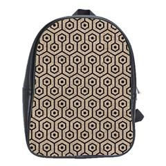Hexagon1 Black Marble & Sand School Bag (xl) by trendistuff