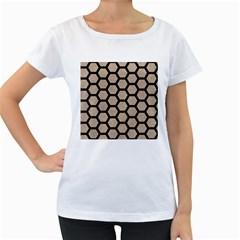 Hexagon2 Black Marble & Sand Women s Loose Fit T Shirt (white) by trendistuff