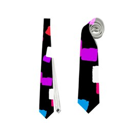 Colorful Rectangles On A Black Background                                 Necktie by LalyLauraFLM