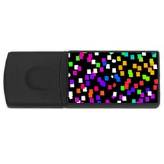 Colorful Rectangles On A Black Background                                 Usb Flash Drive Rectangular (4 Gb) by LalyLauraFLM
