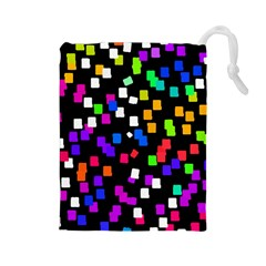 Colorful Rectangles On A Black Background                                 Drawstring Pouch by LalyLauraFLM