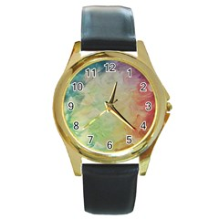 Painted Canvas                                 Round Gold Metal Watch by LalyLauraFLM