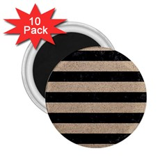 Stripes2 Black Marble & Sand 2 25  Magnets (10 Pack)  by trendistuff