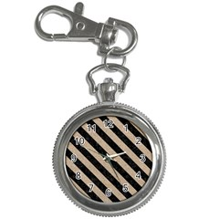 Stripes3 Black Marble & Sand Key Chain Watches by trendistuff
