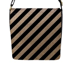 Stripes3 Black Marble & Sand (r) Flap Messenger Bag (l)