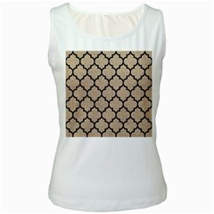 Tile1 Black Marble & Sand Women s White Tank Top by trendistuff