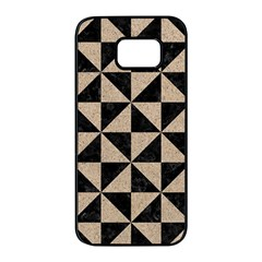 Triangle1 Black Marble & Sand Samsung Galaxy S7 Edge Black Seamless Case