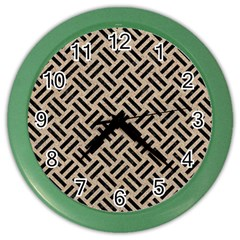Woven2 Black Marble & Sand Color Wall Clocks by trendistuff