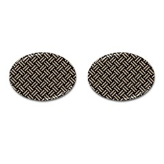 Woven2 Black Marble & Sand (r) Cufflinks (oval) by trendistuff
