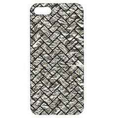 Brick2 Black Marble & Silver Foil Apple Iphone 5 Hardshell Case With Stand by trendistuff