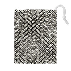 Brick2 Black Marble & Silver Foil Drawstring Pouches (extra Large) by trendistuff