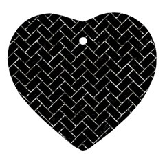 Brick2 Black Marble & Silver Foil (r) Heart Ornament (two Sides) by trendistuff